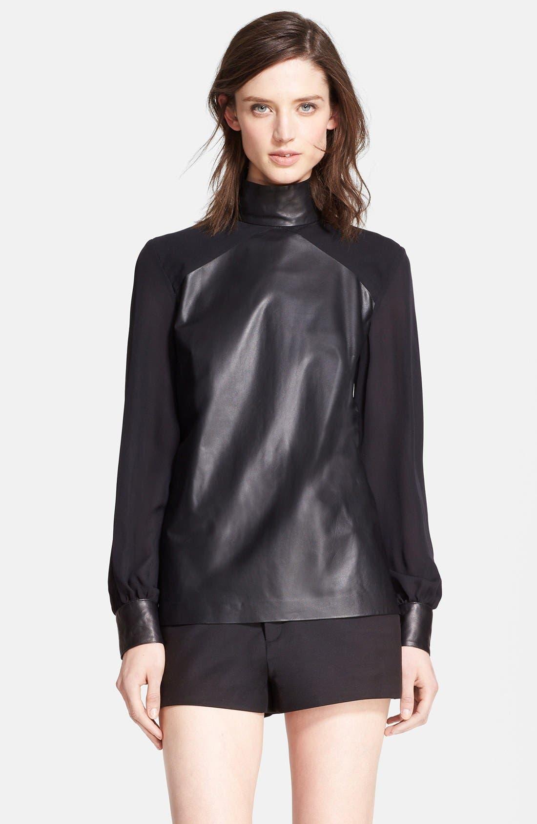 Main Image - Tamara Mellon Leather & Silk Georgette Blouse