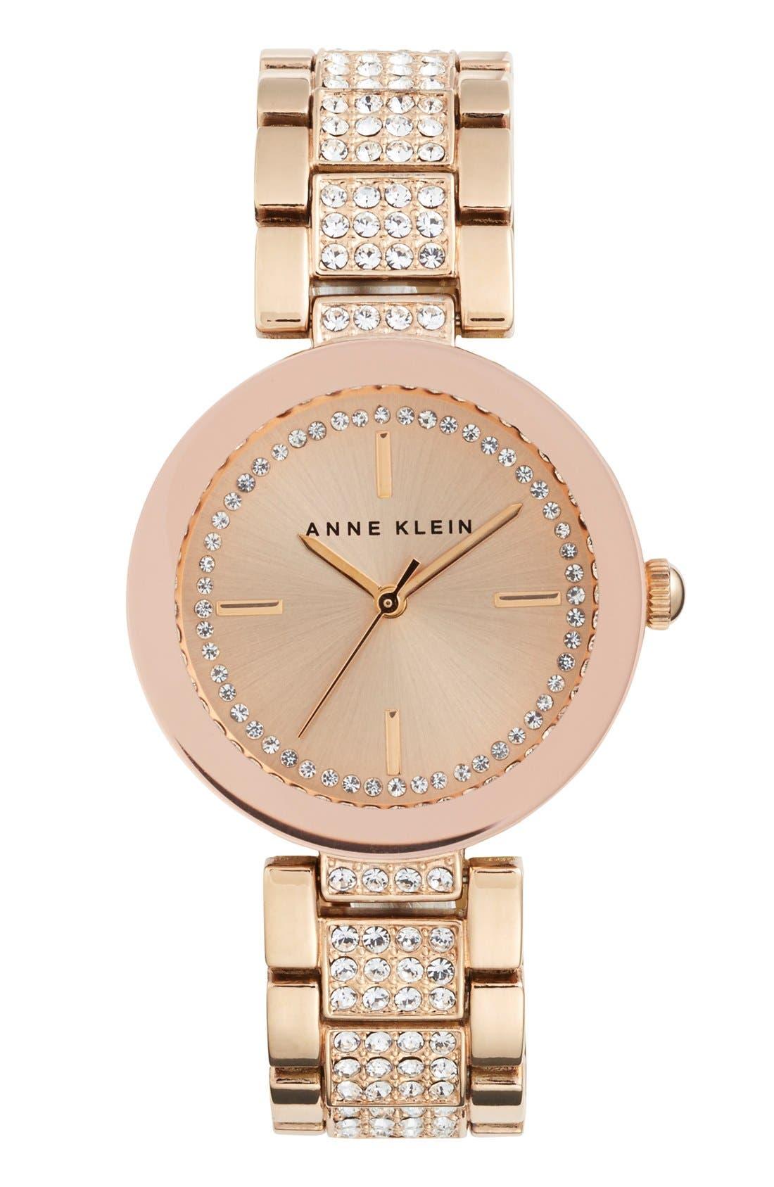 Main Image - Anne Klein Pavé Crystal Bracelet Watch, 32mm