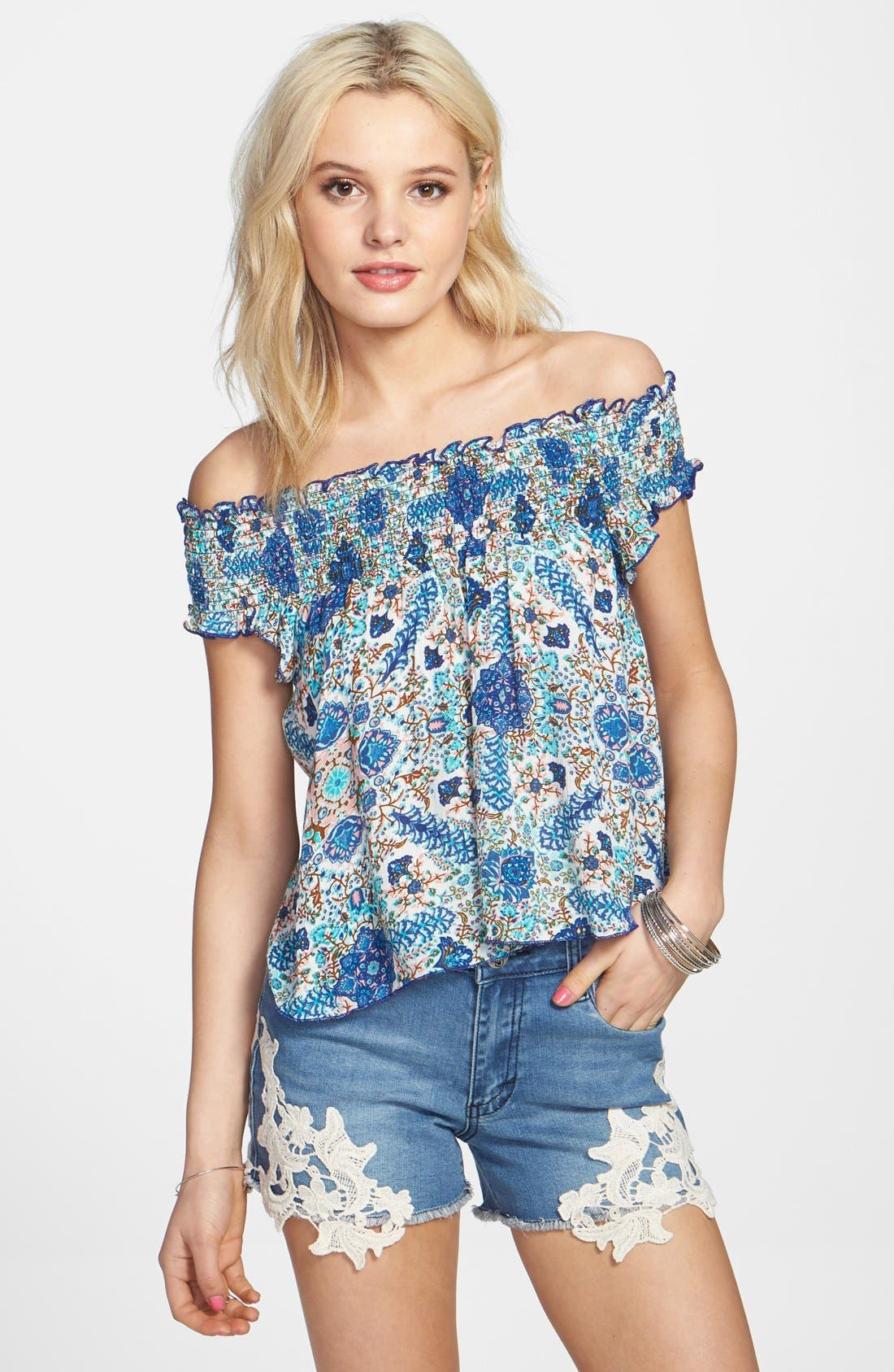 Alternate Image 1 Selected - Band of Gypsies Floral Print Smocked Off-the-Shoulder Top (Juniors)
