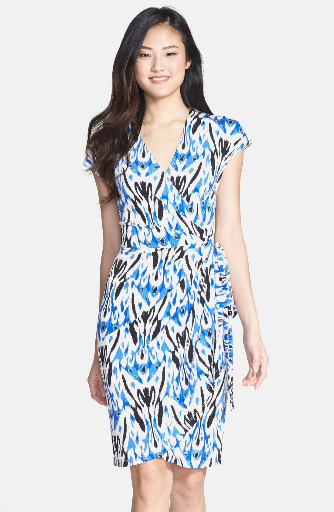 Alternate Image 1 Selected - Maggy London Print Short Sleeve Wrap Dress