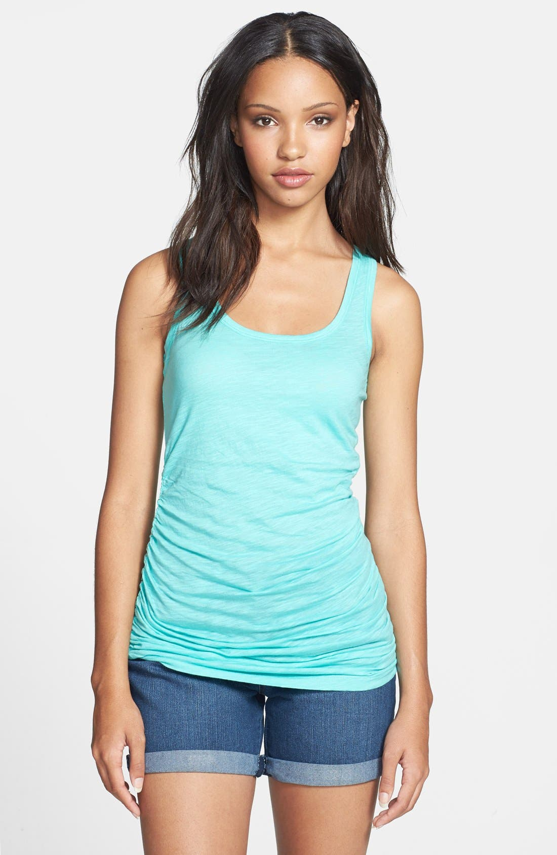 Alternate Image 1 Selected - Caslon® Shirred Side Tank (Regular & Petite)