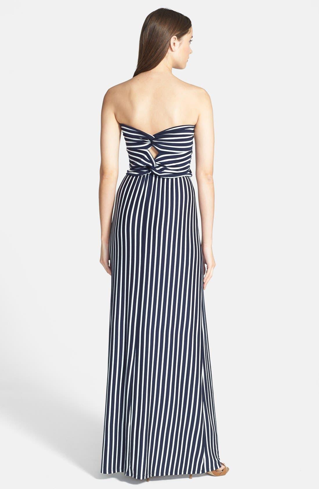 Alternate Image 2  - Loveappella Strapless Twist Back Stripe Maxi Dress (Regular & Petite)