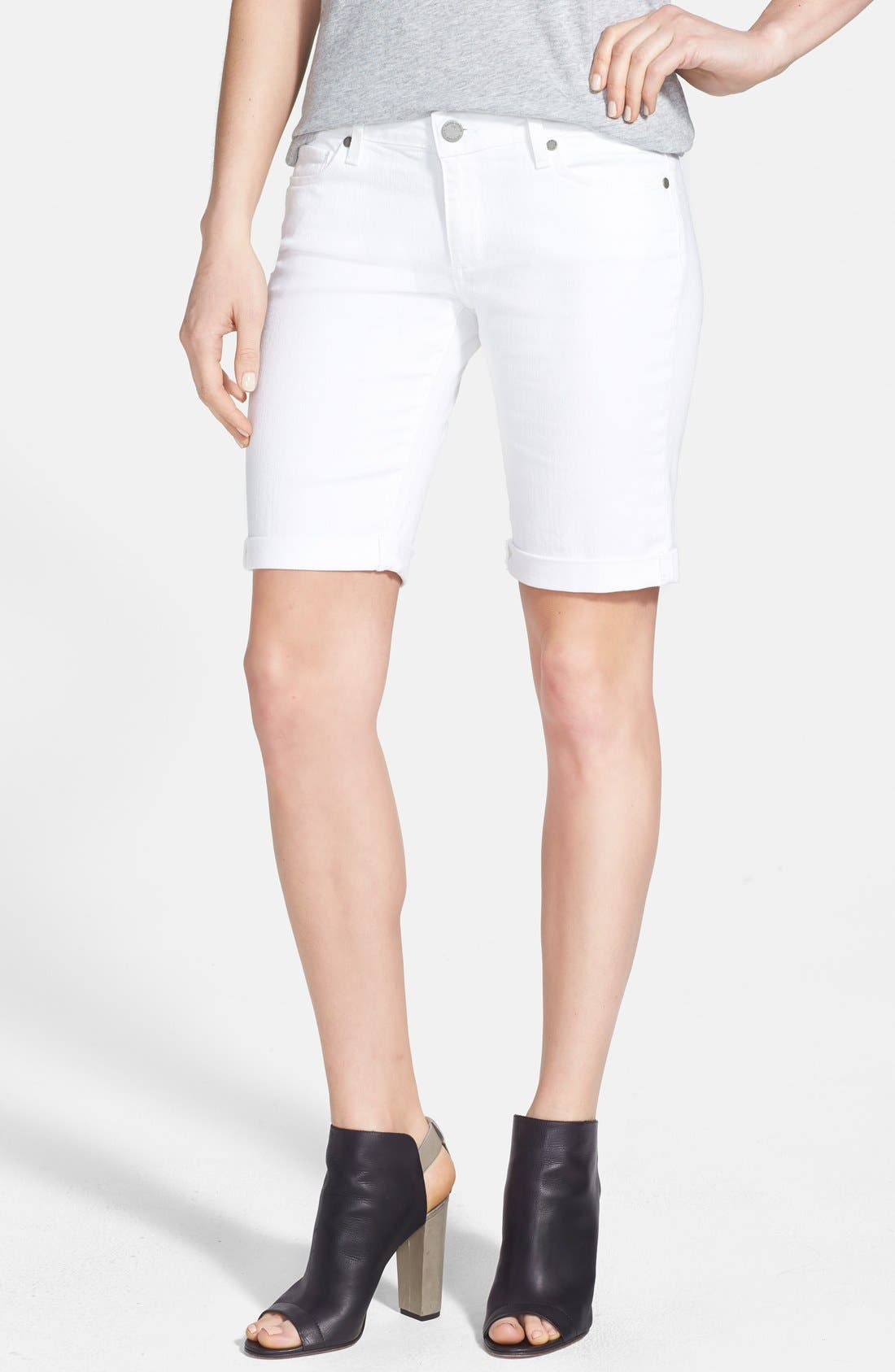 Main Image - PAIGE 'Jax' Stretch Denim Bermuda Shorts (Optic White)