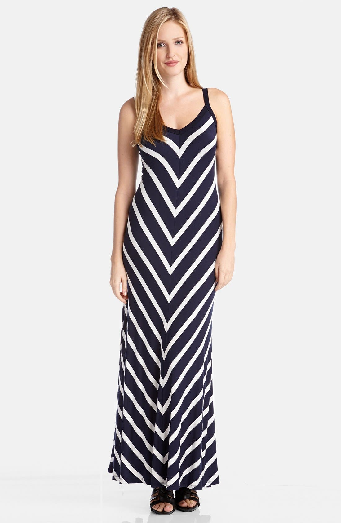 Alternate Image 1 Selected - Karen Kane Mitered Stripe Maxi Dress