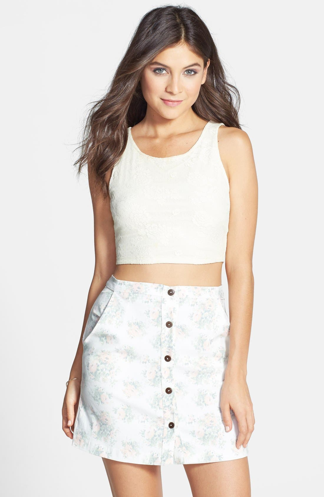 Alternate Image 1 Selected - Lily White Floral Button Front Denim Skirt (Juniors)