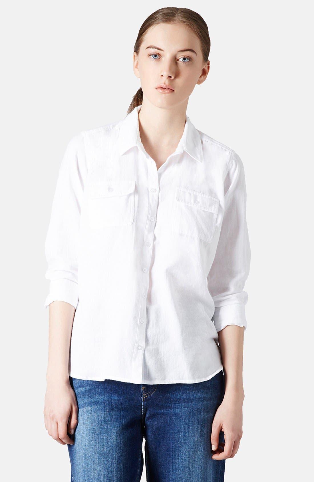 Alternate Image 1 Selected - Topshop Chambray Utility Shirt