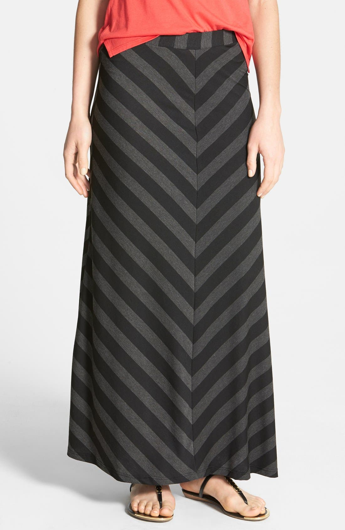 Alternate Image 1 Selected - Everleigh Mitered Stripe Maxi Skirt