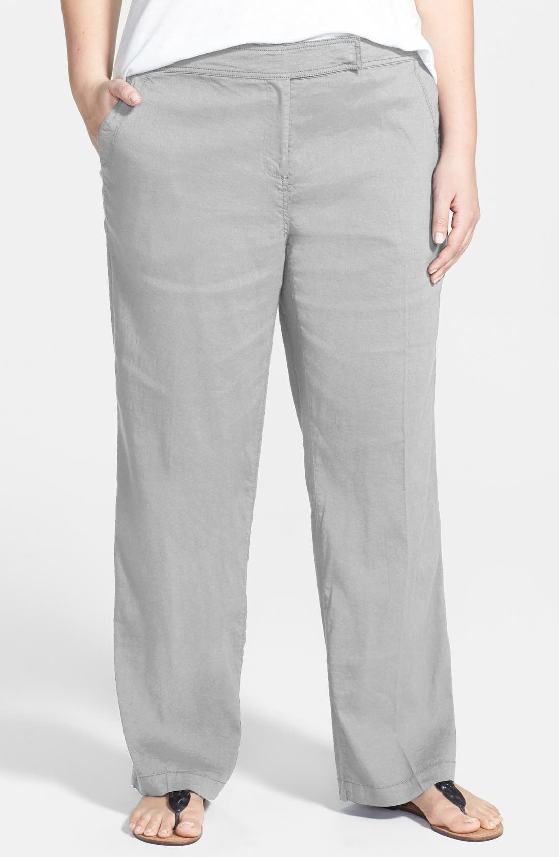 Alternate Image 1 Selected - Eileen Fisher Straight Leg Linen Blend Trousers (Plus Size)