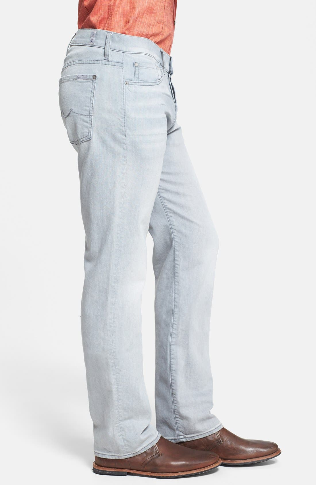Alternate Image 3  - 7 For All Mankind® 'Standard' Straight Leg Jeans (Ghost Grey)