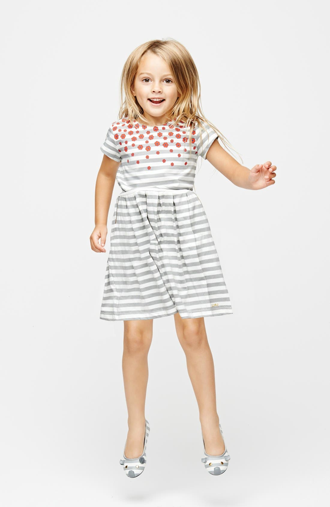 Alternate Image 2  - LITTLE MARC JACOBS Stripe Floral Jersey Dress (Little Girls & Big Girls)