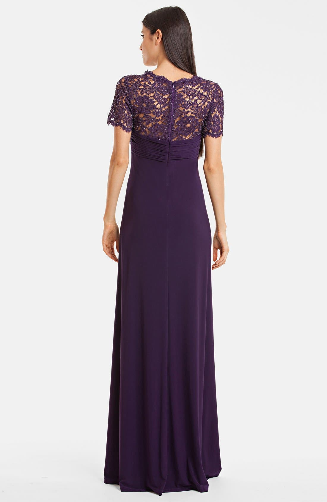 Alternate Image 2  - JS Boutique Embellished Lace & Draped Jersey Gown