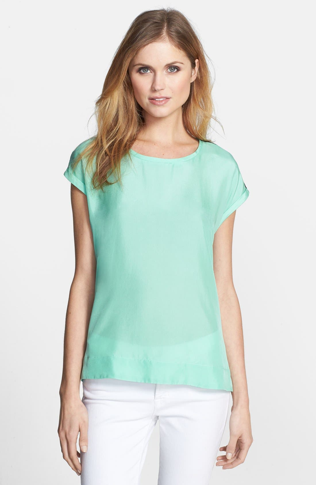 Alternate Image 1 Selected - Adrianna Papell Colorblock Mixed Media Tee