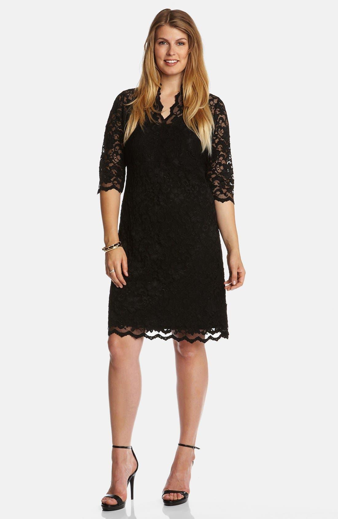 Main Image - Karen Kane Split Neck Stretch Lace Dress (Plus Size)