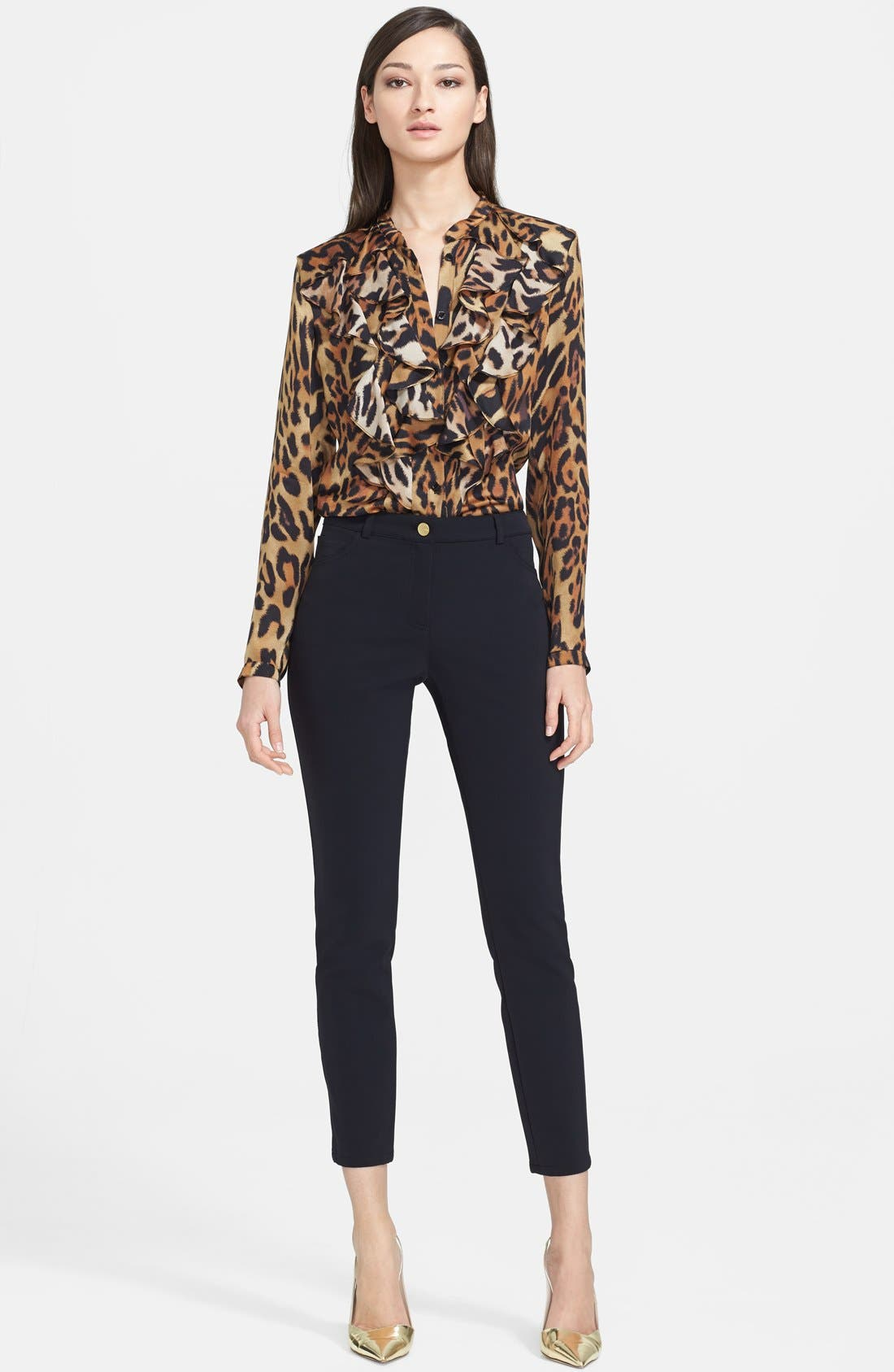 Alternate Image 3  - ESCADA Leopard Print Ruffled Silk Blouse