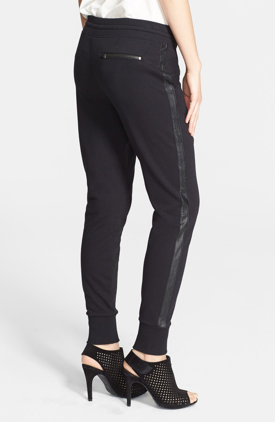 Alternate Image 2  - Vince Faux Leather Side Strapping Sweatpants