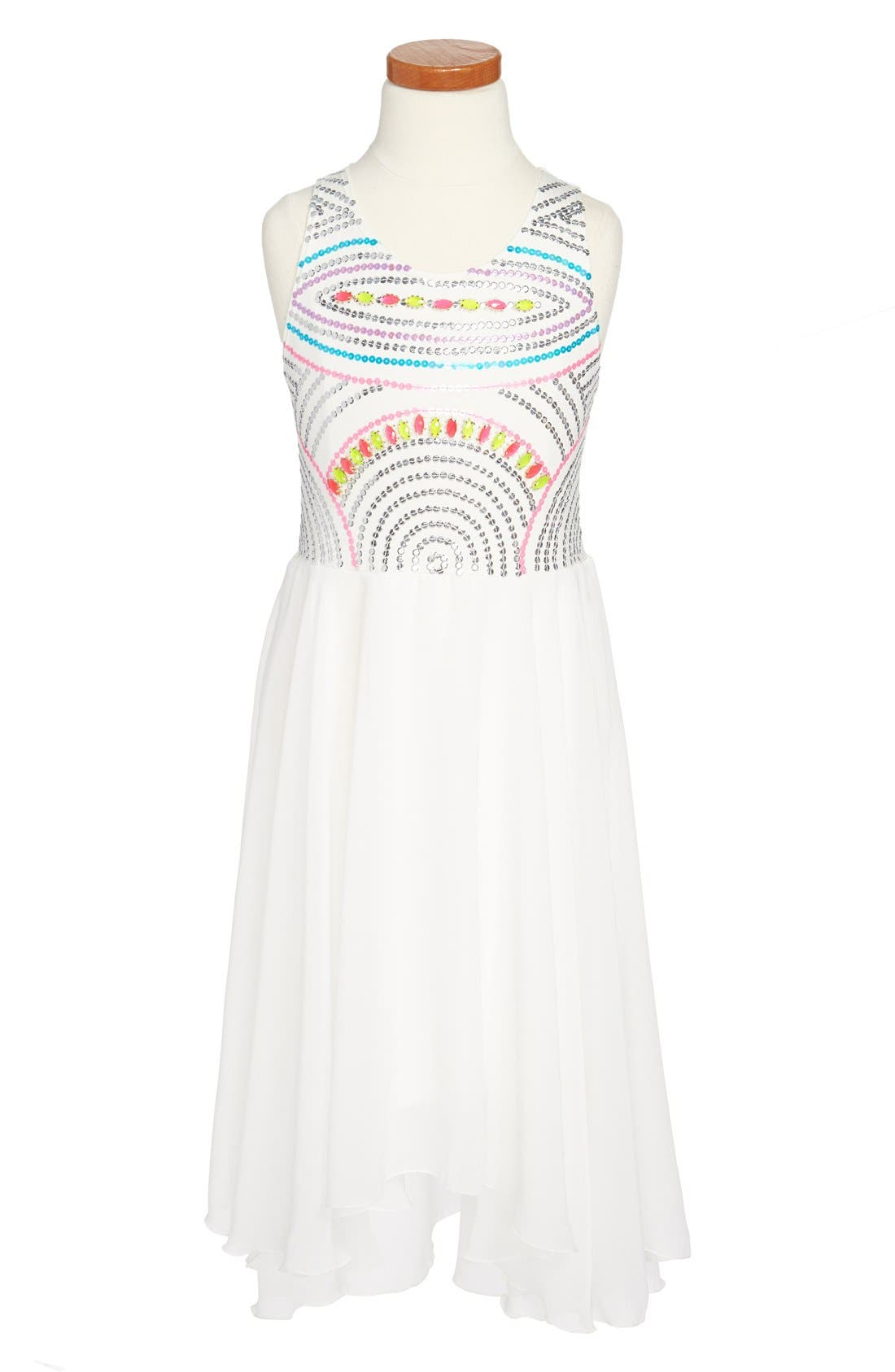 Alternate Image 1 Selected - Flowers by Zoe Chiffon Dress (Big Girls)