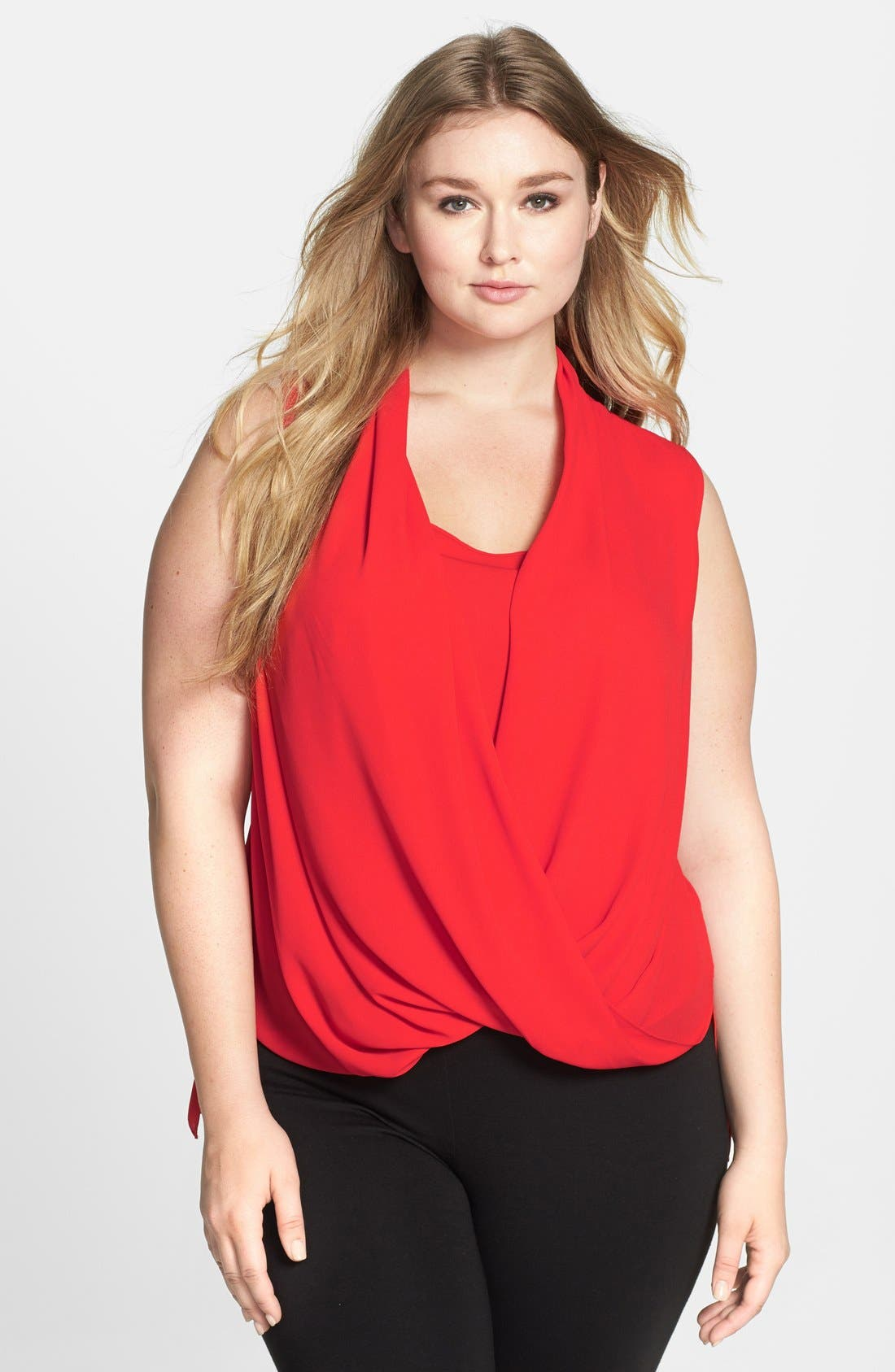 Alternate Image 1 Selected - Vince Camuto Sleeveless Wrap Front Shirttail Blouse (Plus Size)