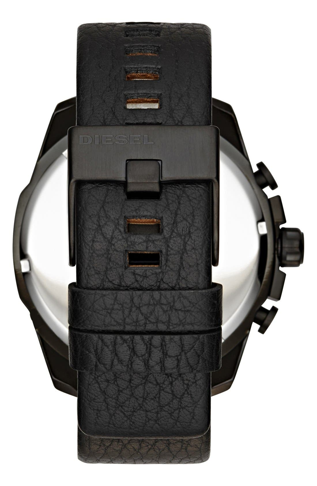 Alternate Image 2  - DIESEL® 'Mega Chief' Chronograph Leather Strap Watch, 51mm