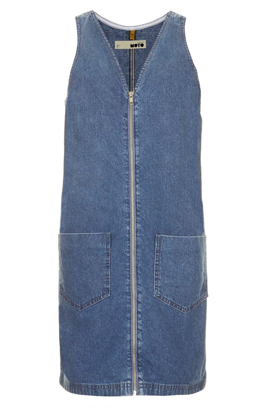 Alternate Image 3  - Topshop Zip Front Denim Dress