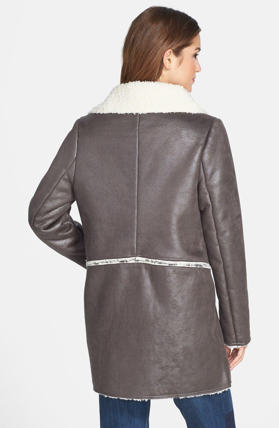 Alternate Image 3  - Kristen Blake Zip Off Hem Faux Shearling Coat