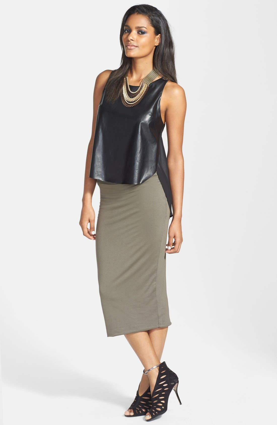 Main Image - ASTR Chiffon Panel Faux Leather Tank