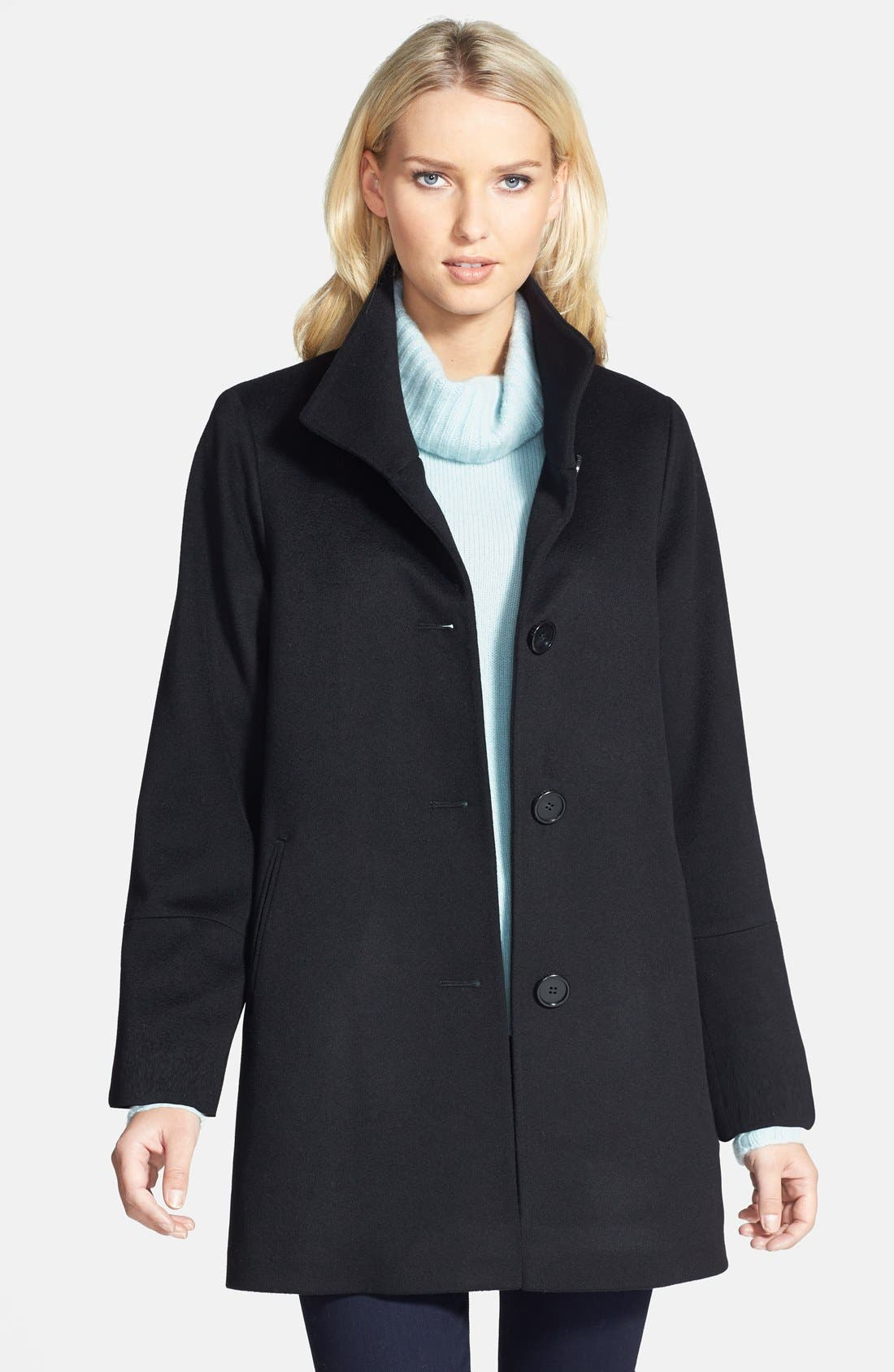 Alternate Image 1 Selected - Fleurette Stand Collar Cashmere Coat