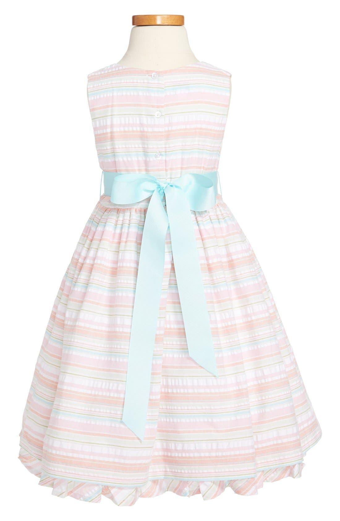 Alternate Image 2  - Pippa & Julie Seersucker Stripe Cotton Dress (Little Girls & Big Girls)