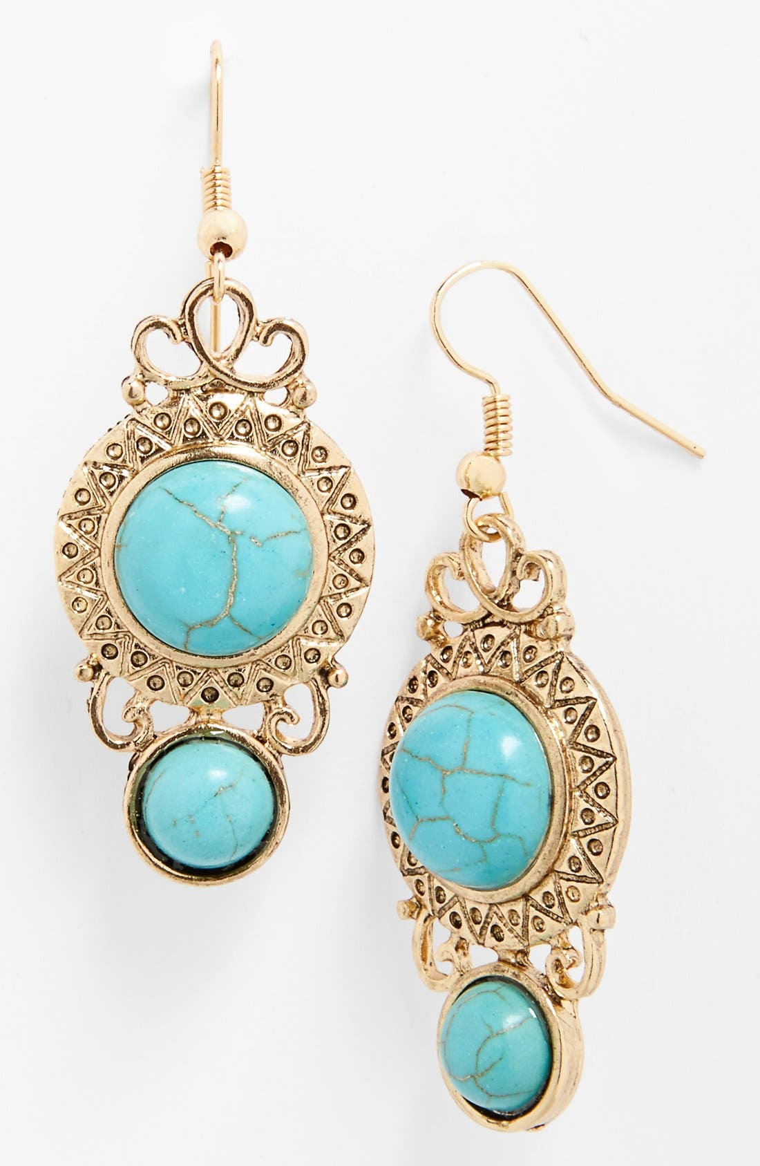 Alternate Image 1 Selected - BP. Framed Stone Drop Earrings (Juniors)