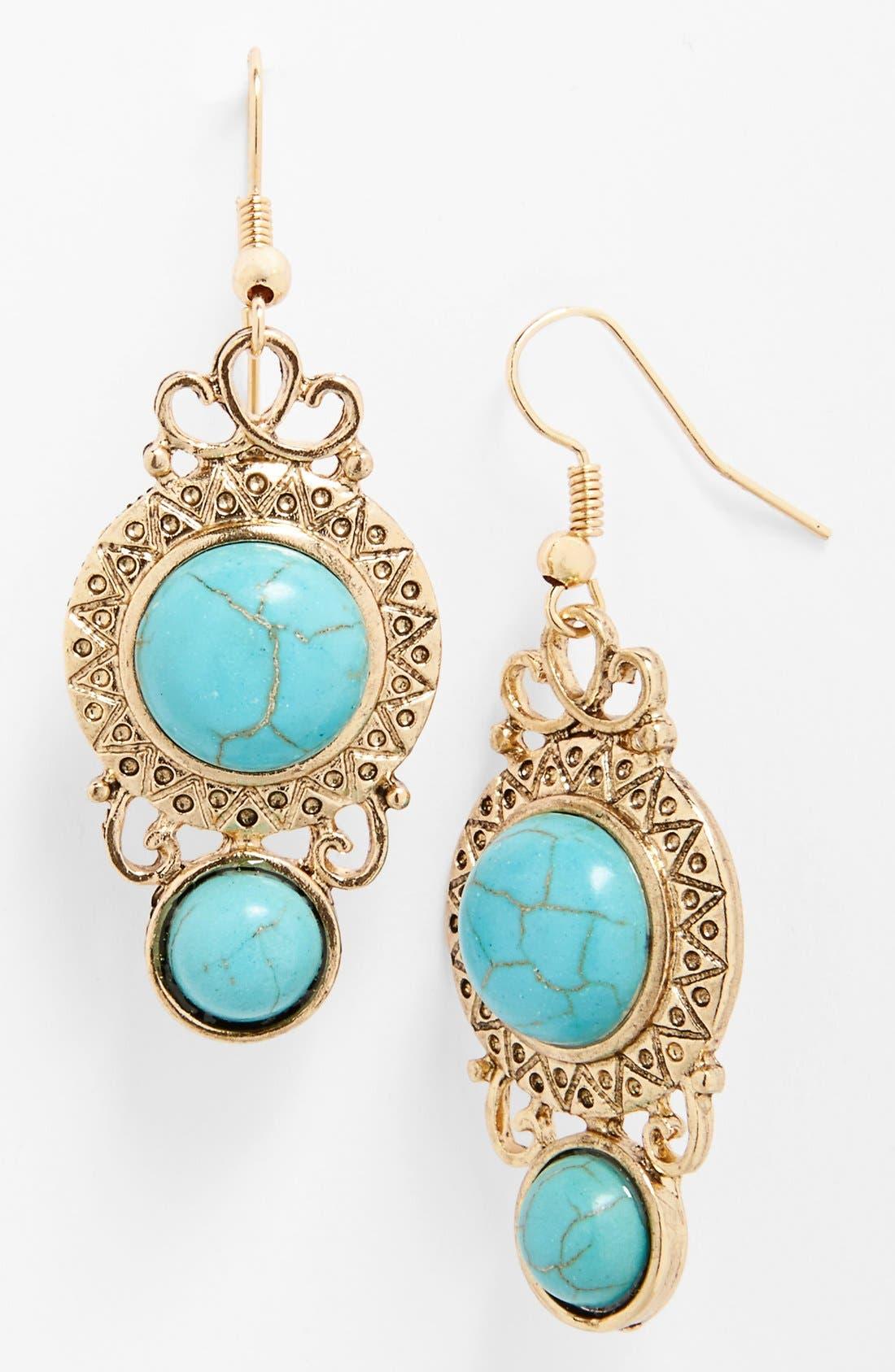 Main Image - BP. Framed Stone Drop Earrings (Juniors)