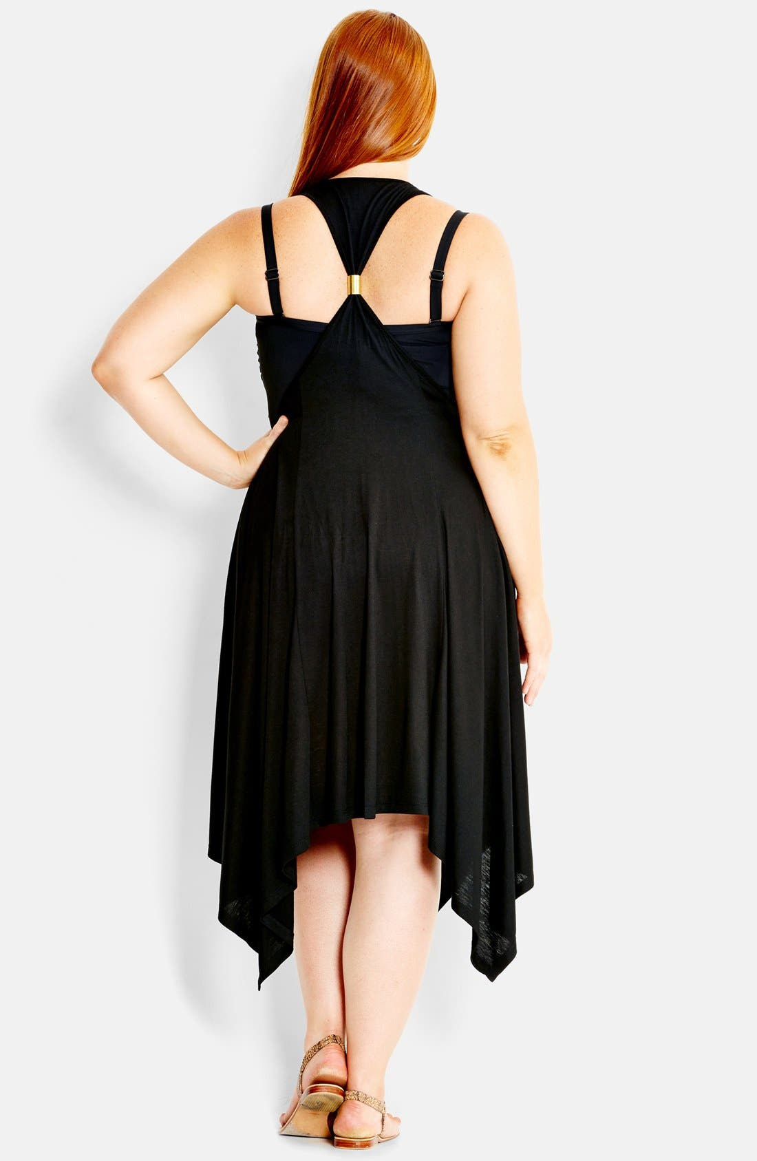 Alternate Image 2  - City Chic 'Monaco' High/Low Stretch Knit Cover-Up Dress (Plus Size)