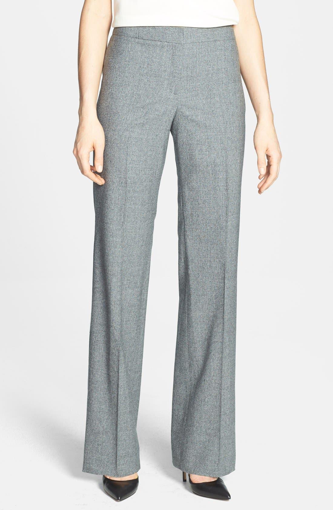 Main Image - Santorelli Straight Leg Stretch Wool Suiting Pants