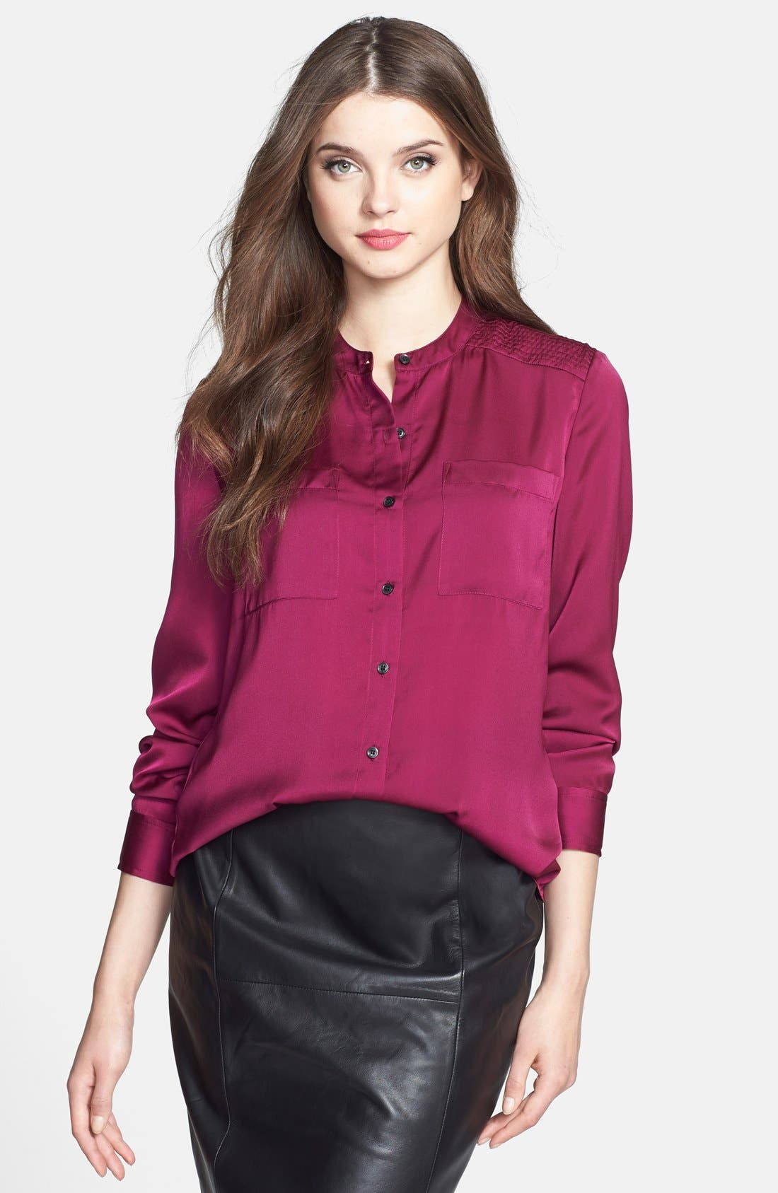 Main Image - Halogen® Collarless Button Front Blouse
