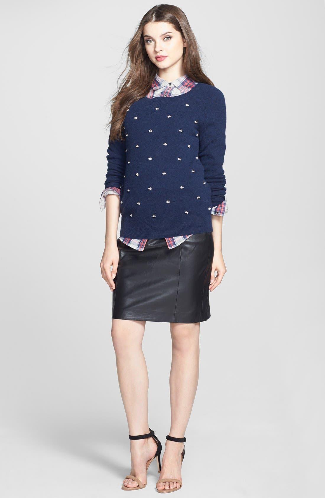 Alternate Image 5  - Halogen® Leather Panel Pencil Skirt (Online Only)