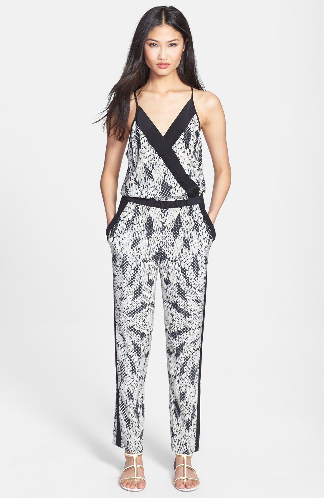 Main Image - Diane von Furstenberg 'Shany' Print Silk Jumpsuit