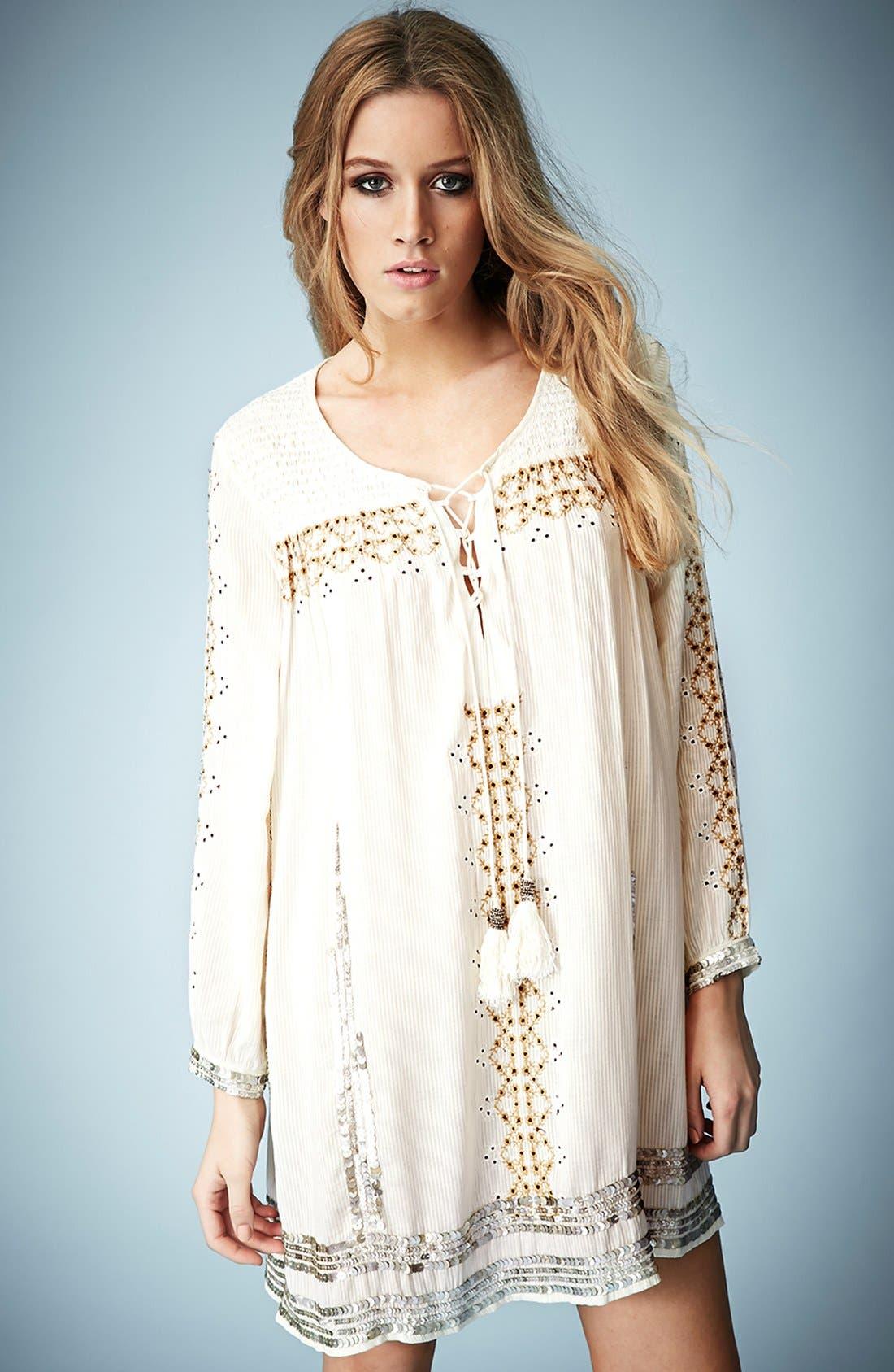 Main Image - Kate Moss for Topshop 'Folk' Smocked Dress