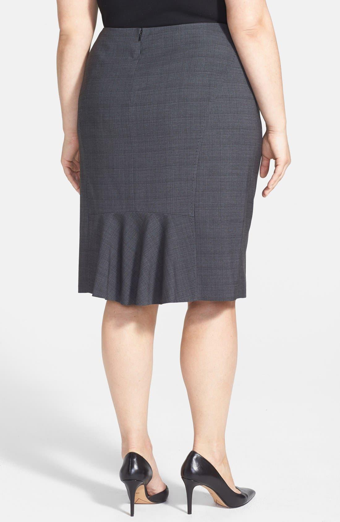 Alternate Image 2  - Sejour 'Charcoal Crosshatch' Suit Skirt (Plus Size)