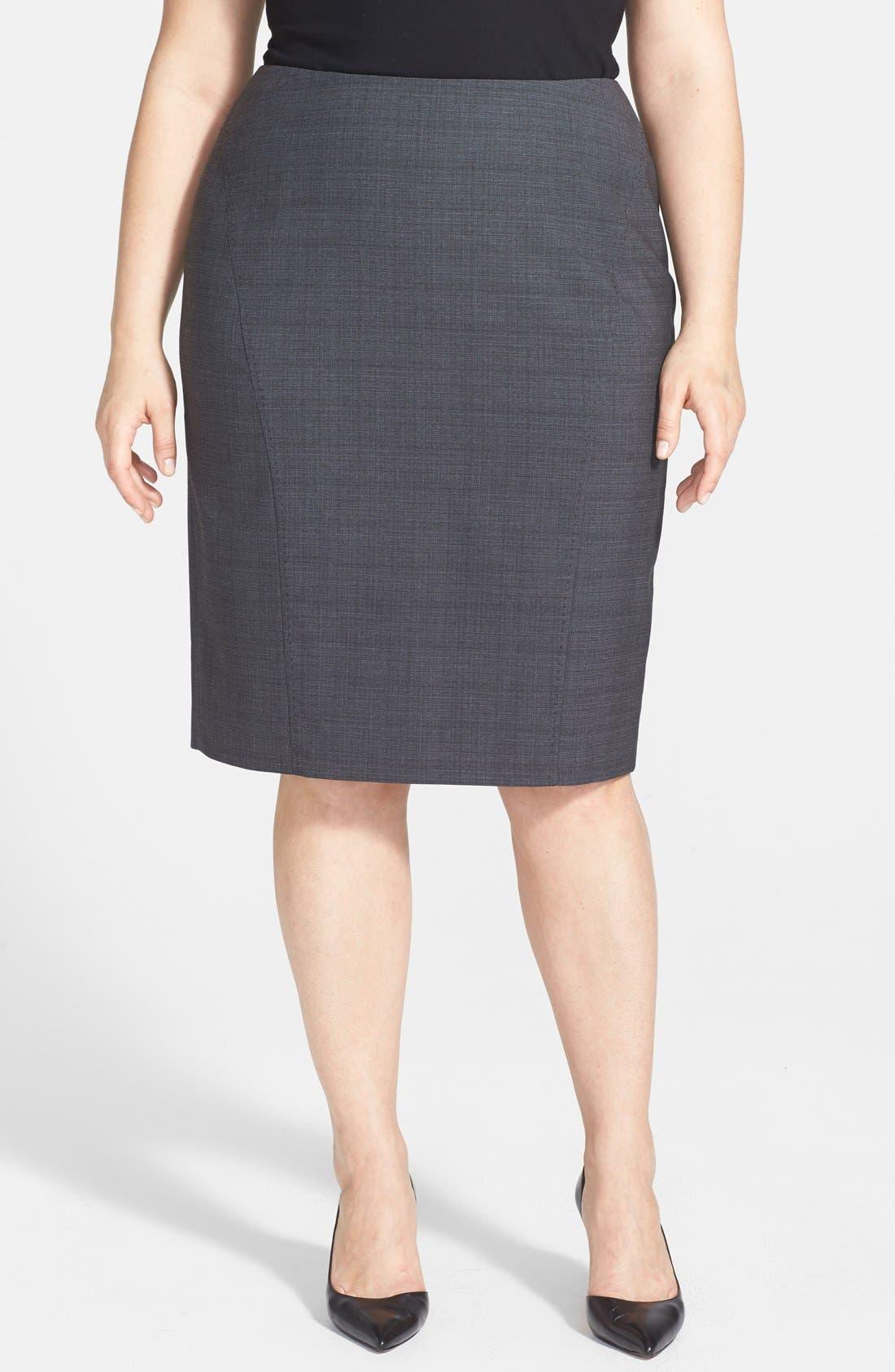 Main Image - Sejour 'Charcoal Crosshatch' Suit Skirt (Plus Size)
