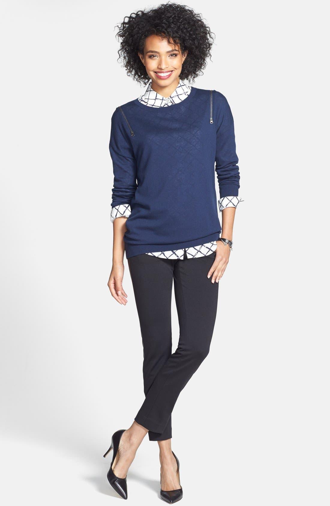Alternate Image 1 Selected - Halogen® Faux Leather Trim Skinny Ankle Pants (Regular & Petite)