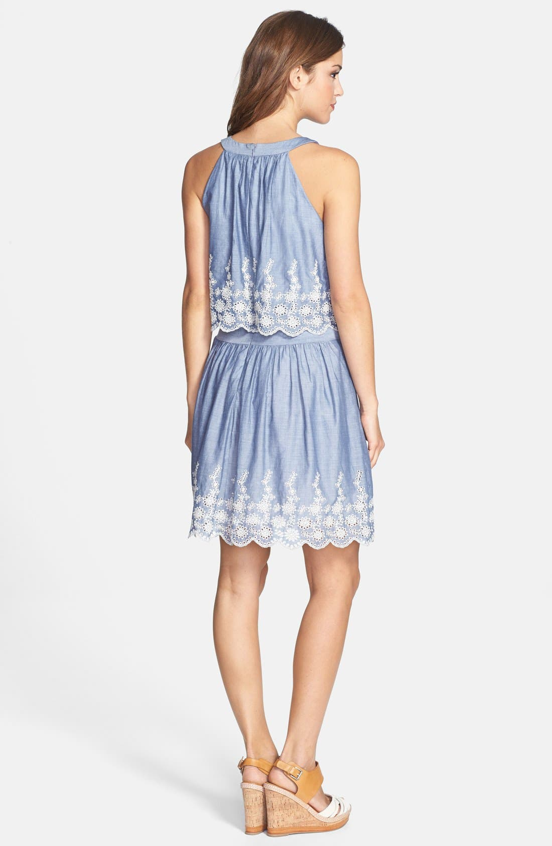 Alternate Image 2  - Ivy & Blu Embroidered Chambray Popover Dress