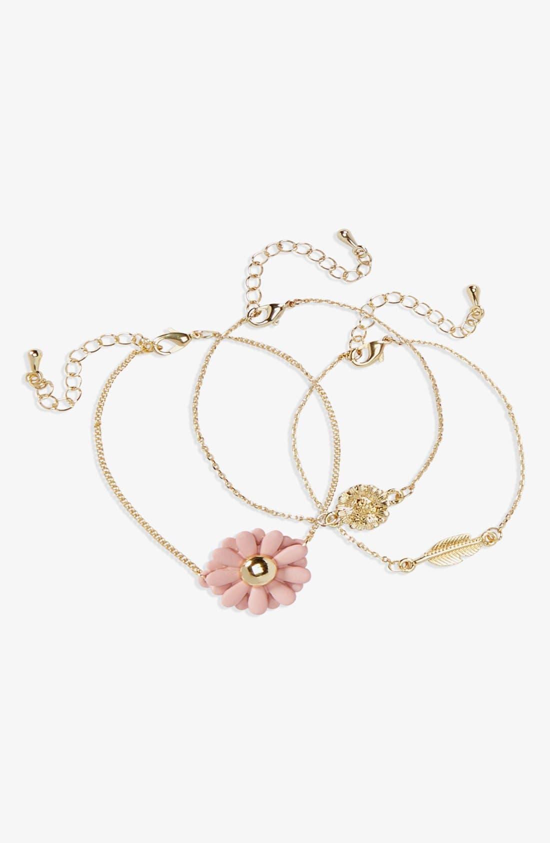 Alternate Image 1 Selected - Topshop Flower Bracelets (Set of 3)