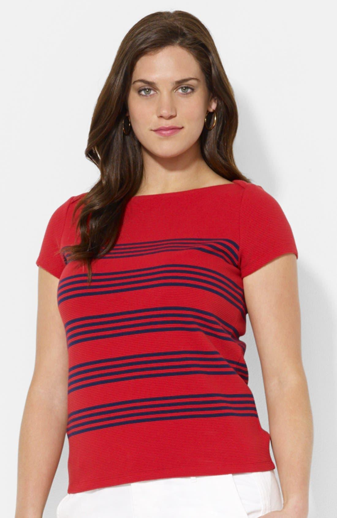Alternate Image 1 Selected - Lauren Ralph Lauren Stripe Ottoman Stitch Cotton Tee (Plus Size)
