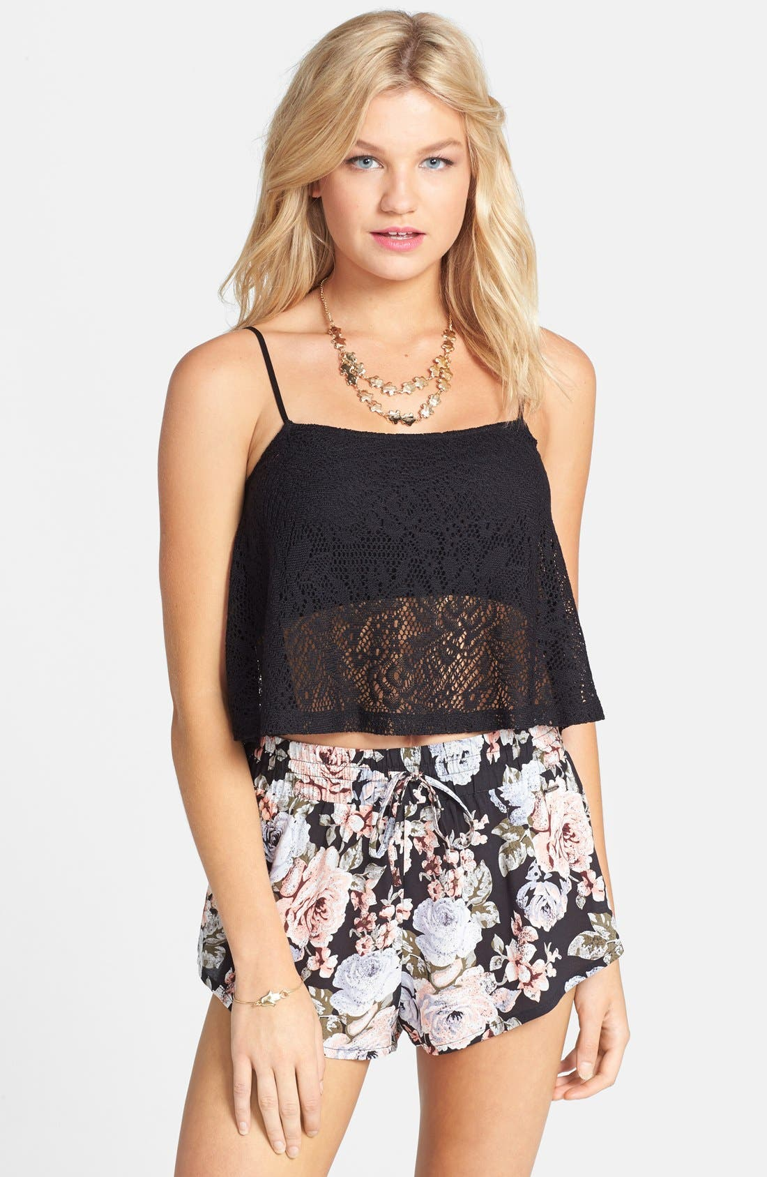 Alternate Image 1 Selected - Frenchi® Lace Swing Tank (Juniors)