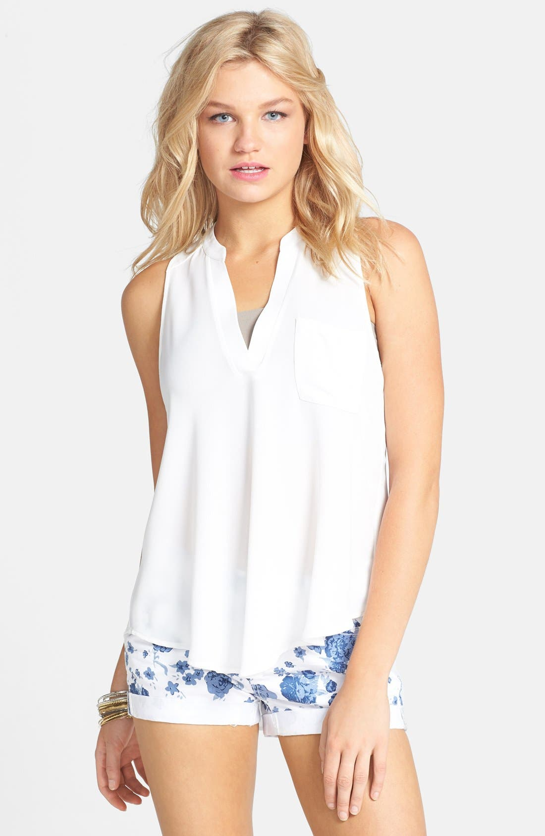 Alternate Image 1 Selected - Lush Split Neck Woven Tank