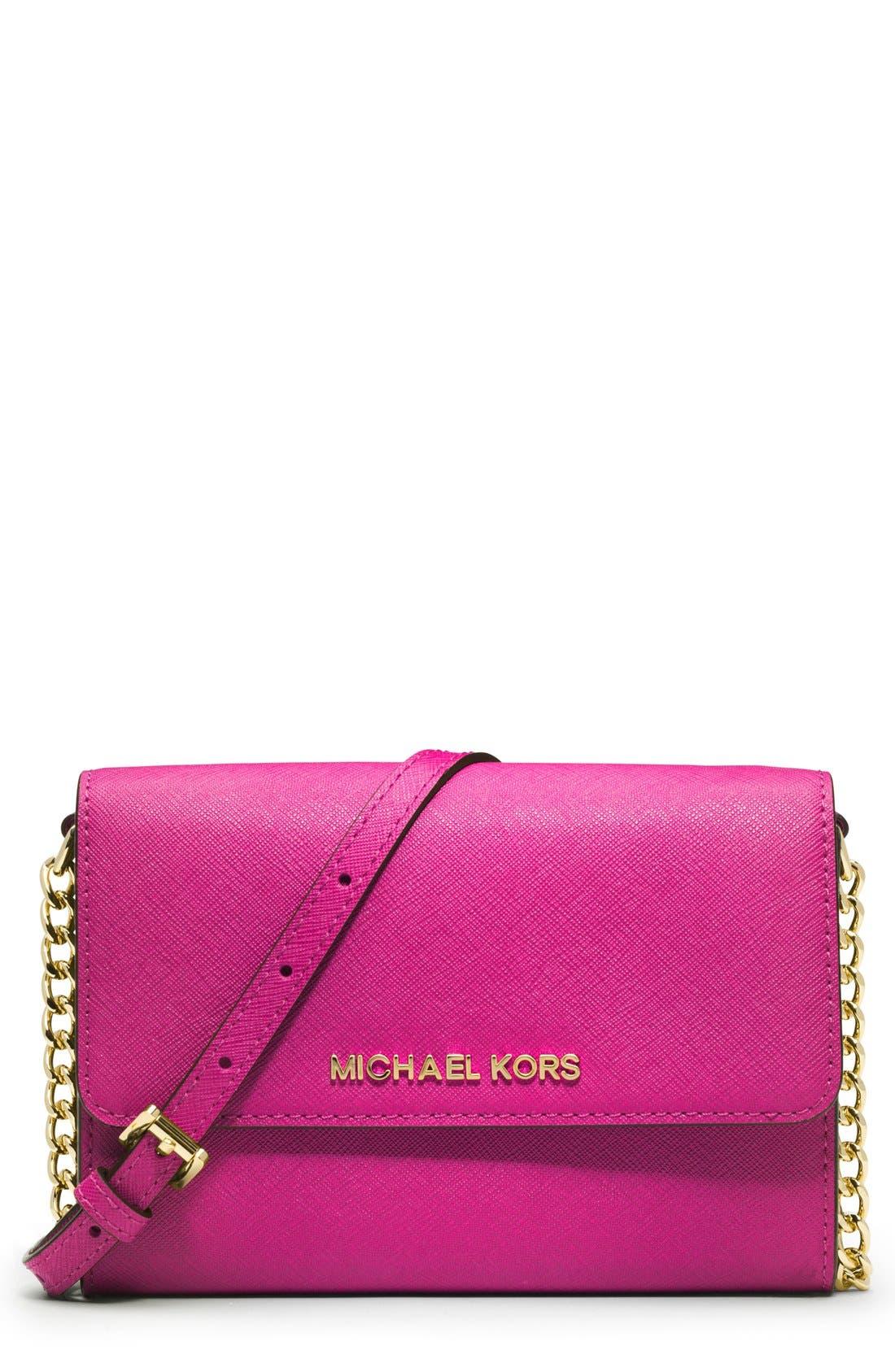 Main Image - MICHAEL Michael Kors 'Jet Set - Large Phone' Saffiano Leather Crossbody Bag