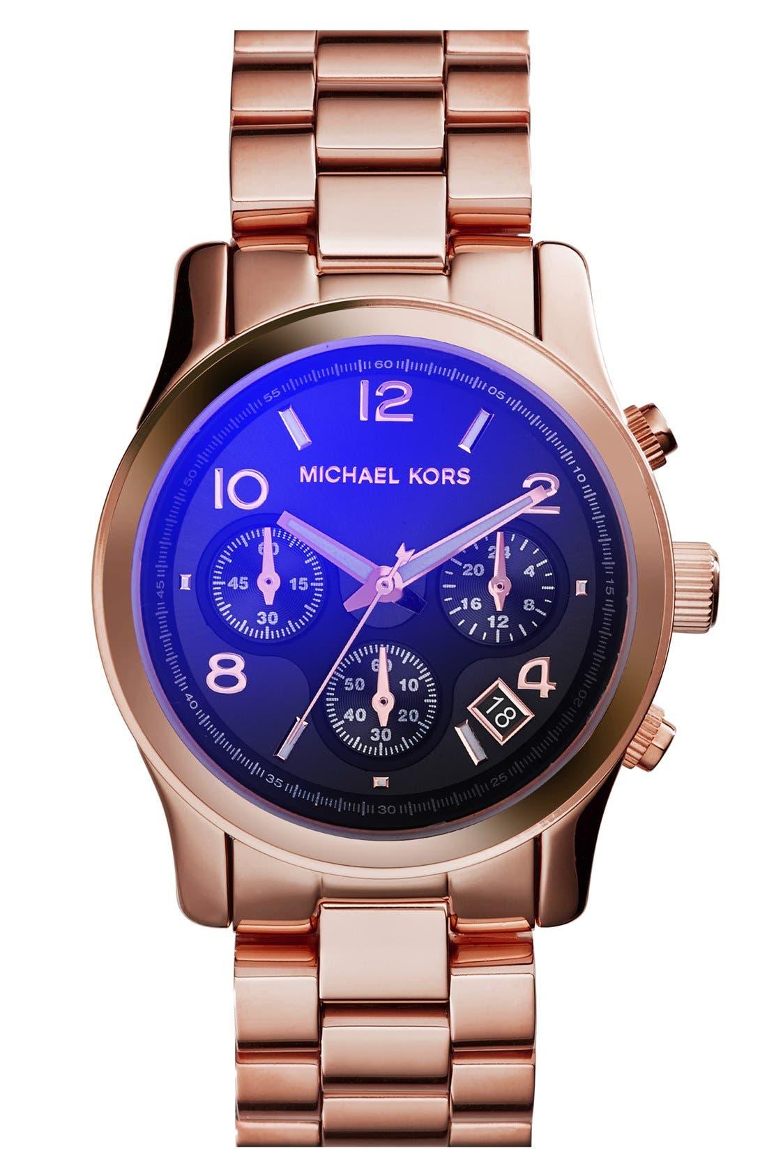 Alternate Image 1 Selected - Michael Kors 'Runway' Rose Gold Plated Watch, 37mm