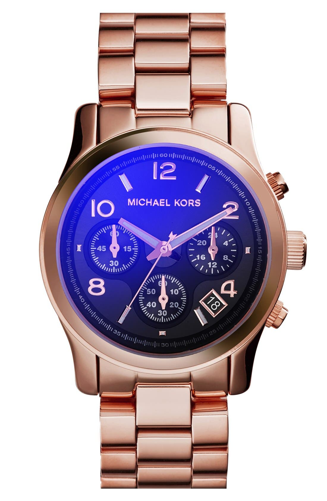 Main Image - Michael Kors 'Runway' Rose Gold Plated Watch, 37mm