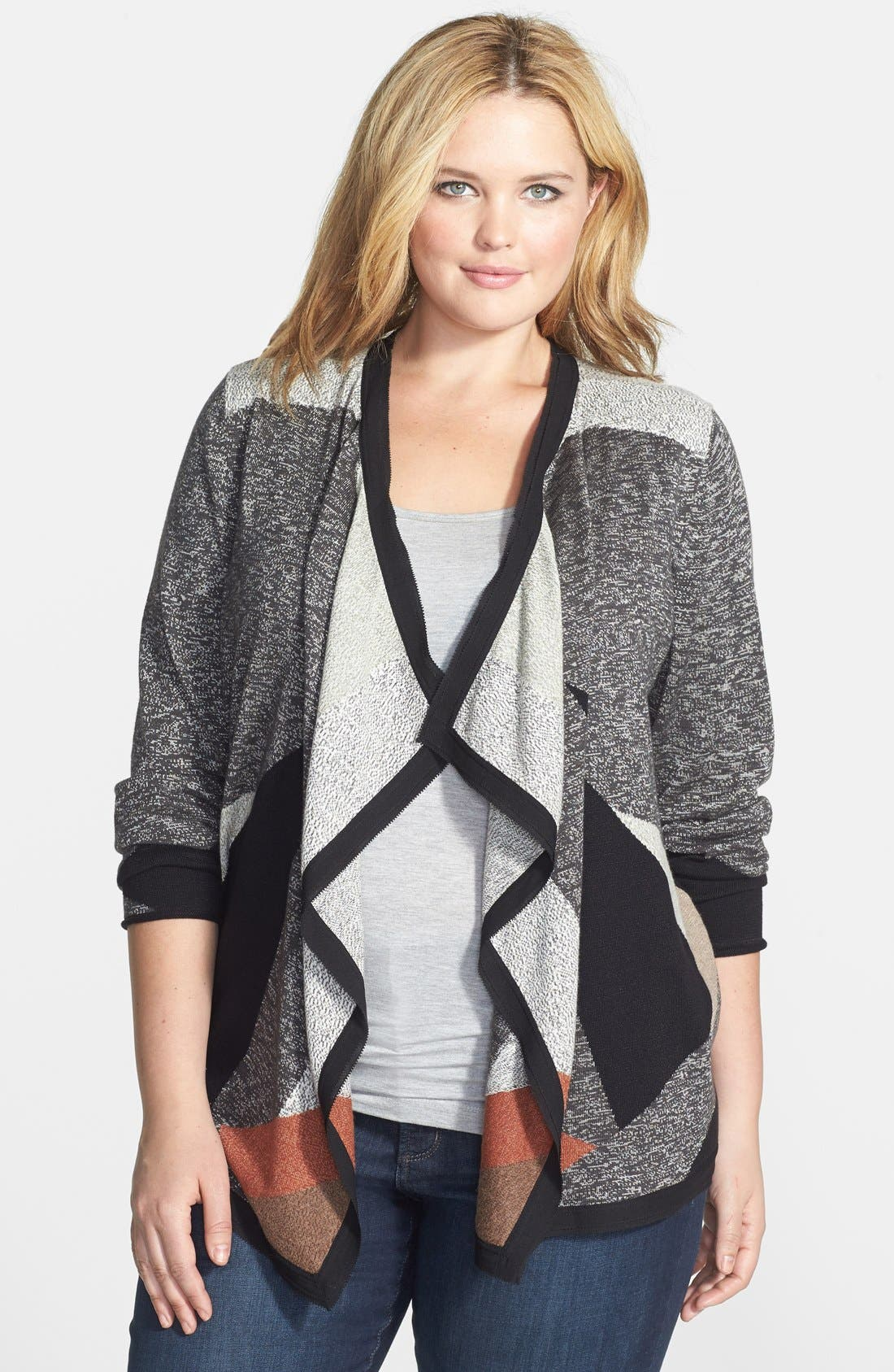 Main Image - NIC+ZOE Intarsia Drape Front Cardigan (Plus Size)