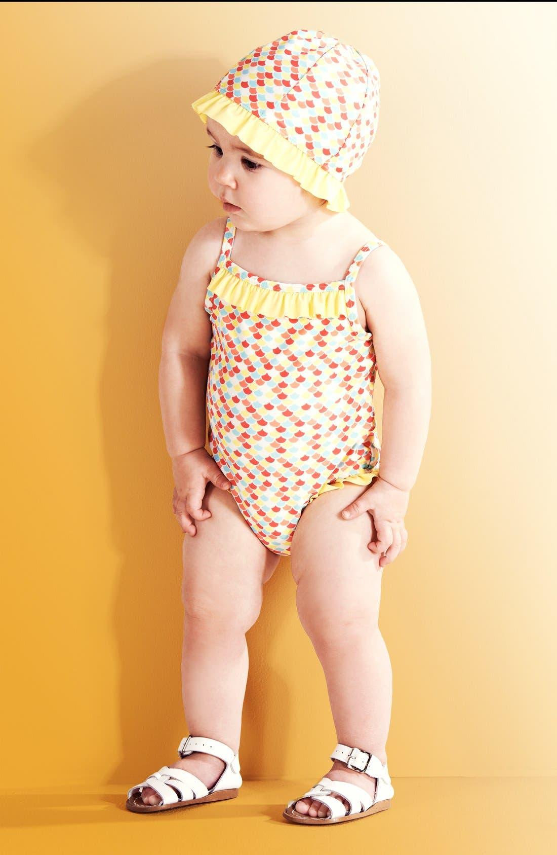 Alternate Image 3  - Tucker + Tate Ruffle One-Piece Swimsuit & Hat (Baby Girls)