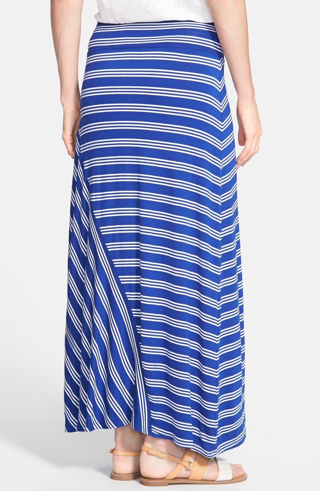 Alternate Image 2  - kensie Stripe Stretch Knit Maxi Skirt