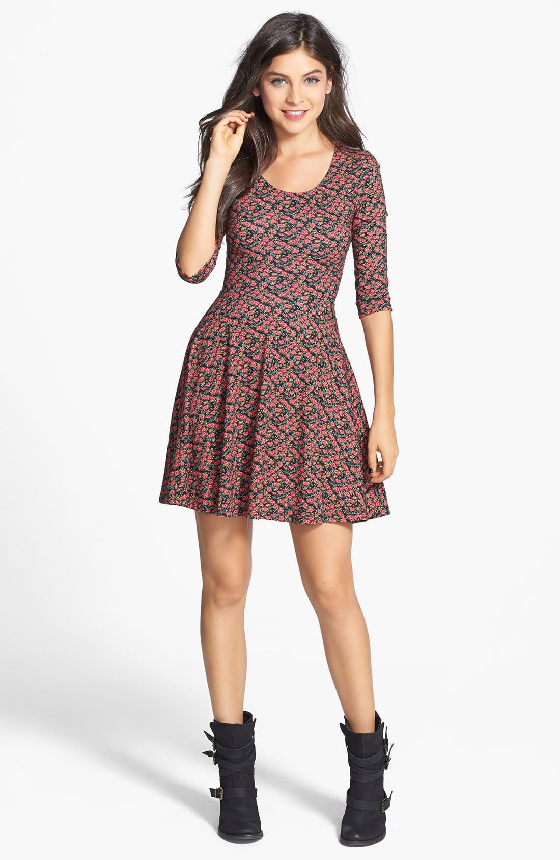 Alternate Image 3  - Lush Floral Print Knit Skater Dress (Juniors)